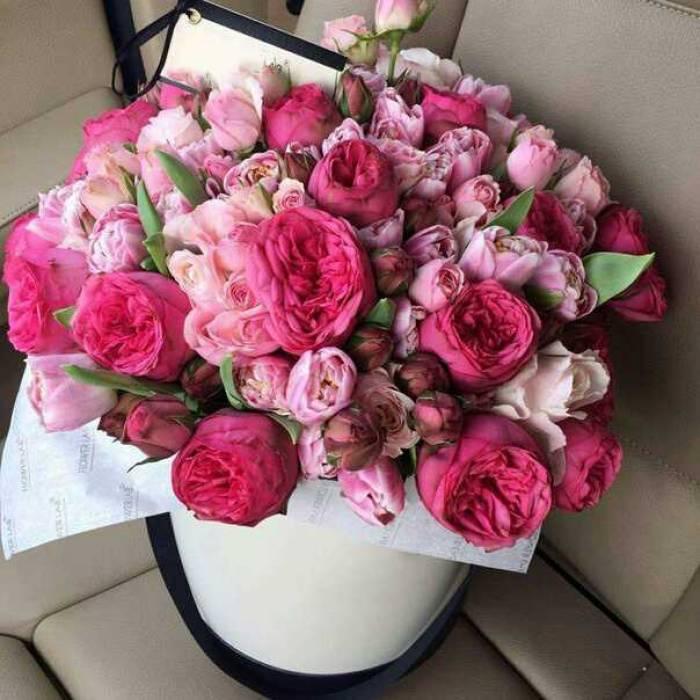 Коробка 15 пионовидных роз и тюльпаны R203