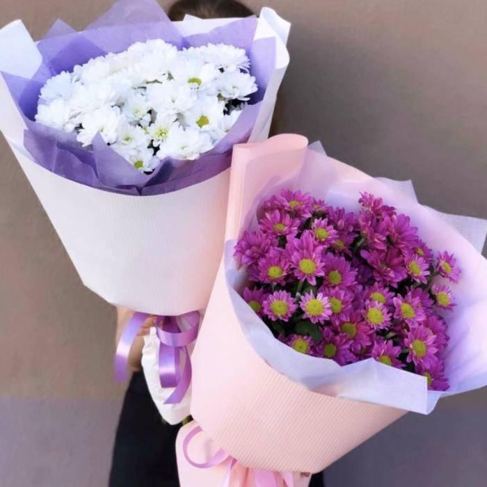 Букет 5 веток розовой хризантемы R1121