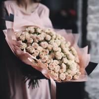 Букет 101 кремовая роза R876