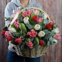 Корзина 31 разноцветный тюльпан R011