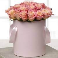 21 кремовая роза в коробке R003