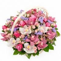 Сборная корзина орхидеи и розы R002