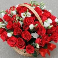 35 красных роз с эустомой в корзине R002