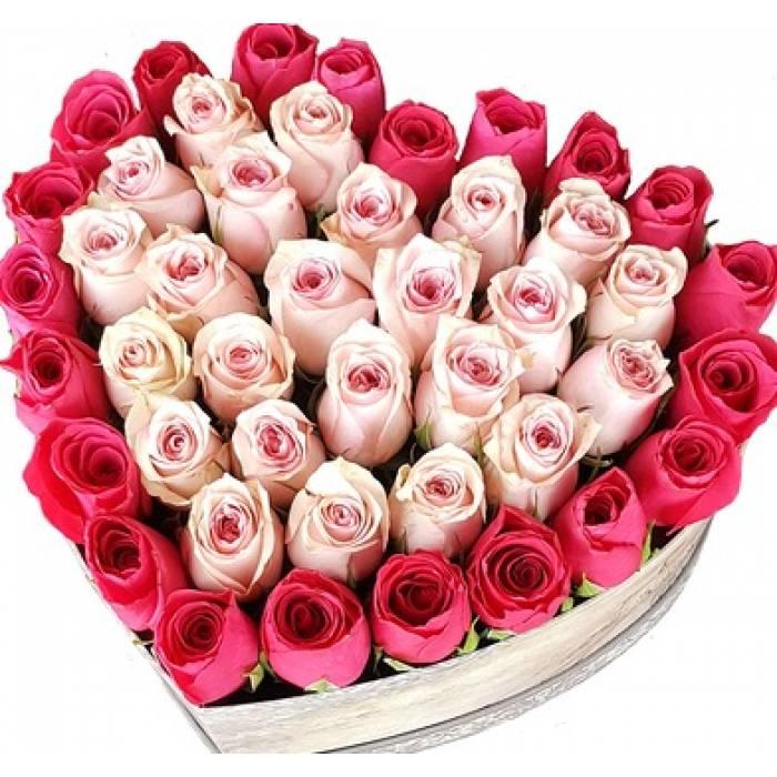 Сердце из розовых роз R442